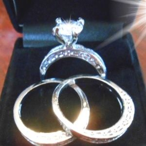 3 Ring Wedding/Engagement Ring Set